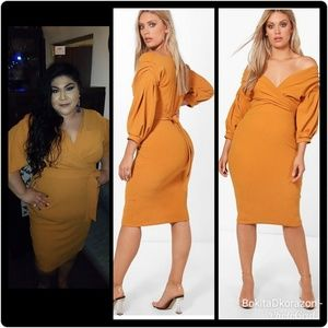 5c5446b412e2e ... Boohoo plus size off the shoulder wrap midi dress ...